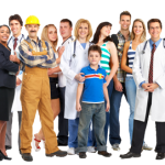 Medium multi career group with child